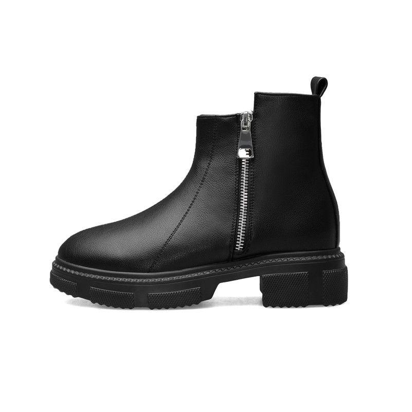 Sıcak Satış-Meotina Sonbahar Bilek Boots Kadınlar Boots Fermuar Chunky Topuklar Kısa Yuvarlak Burun Ayakkabı Bayanlar Kış Siyah