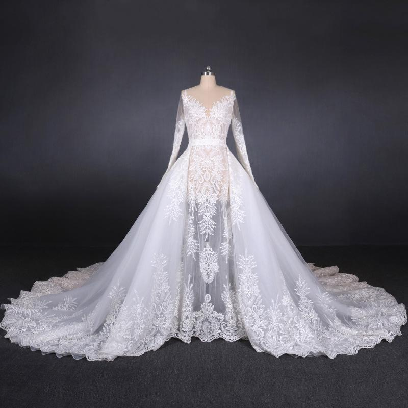 Discount Alluring White Long Sleeve Wedding Dresses Online Lace Appliques Jewel Convertible Wedding Dress With Detachable Train Voiles De Mariage Halter A Line Wedding Dress Straight Line Wedding Dresses From Mirusponsawedding 361 82