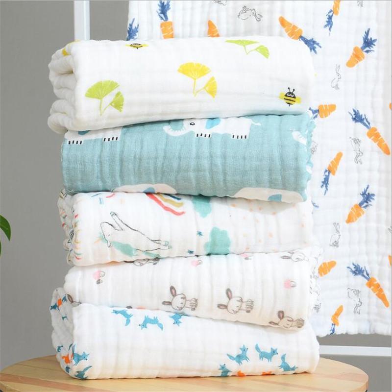105cm * 105cm suave y transpirable 6 capas de gasa bebé Mantas Envolver Para niños pequeños envoltura 100% del envío Mantas muselina de algodón infantes para niños gratis