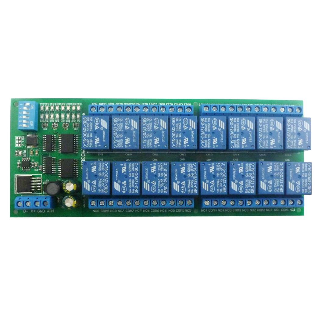 Постоянного тока 12В С45 DIN35 рейку коробка 16-канальный релейный модуль интерфейса RS485 протокол Modbus интерфейсы UART щит управления для ПЛК PTZ камеры Сид мотора