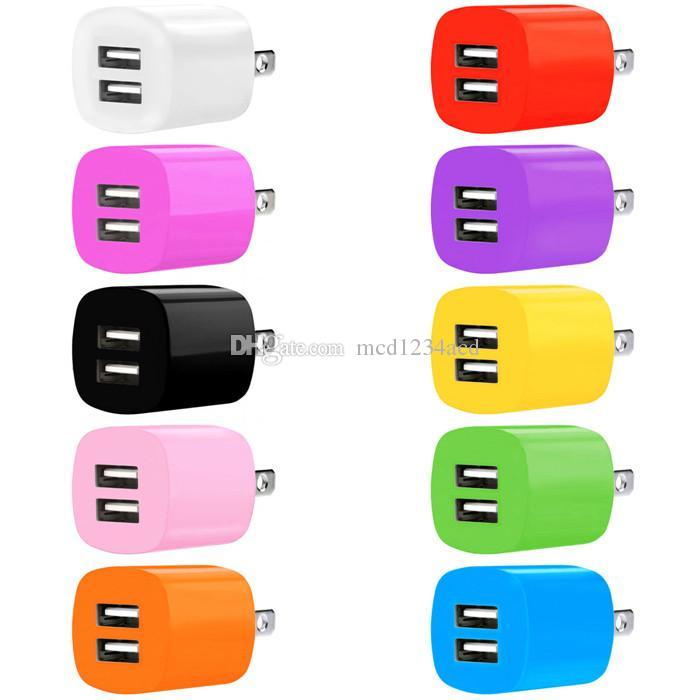 Fast Speed Ladegerät 2.1A + 1A Dual USB-Anschlüsse US AC Home Travel Wall Ladegerät Adapter für iPhone Samsung S8 S9 S10 Anmerkung 8 9 10 HTC Android Phone