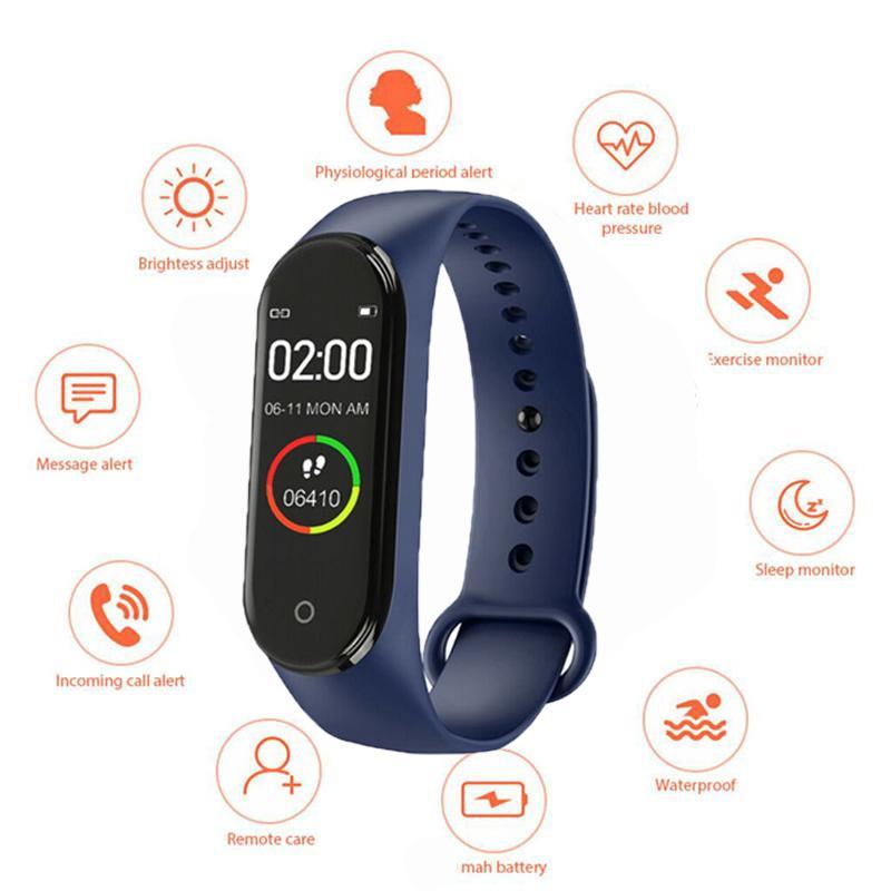 La moda de alta calidad superior de Smart Nueva M4 reloj monitor de ritmo cardíaco hombres y de mujeres de múltiples funciones multi-idioma pulsera de la salud
