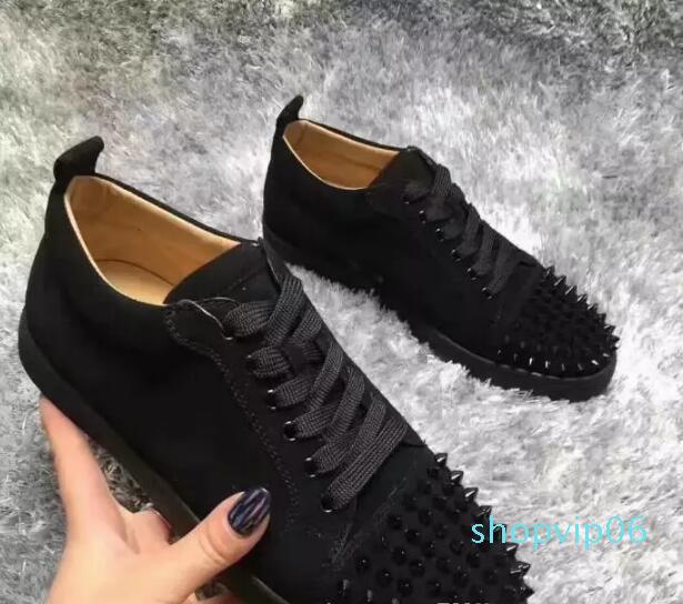 2020 حذاء جديد فاخر الذهب الأسود بريق الترتر الأحمر أحذية القاع مصمم السامي الأعلى المسامير تو جلدية حقيقية حفل زفاف احذية K8