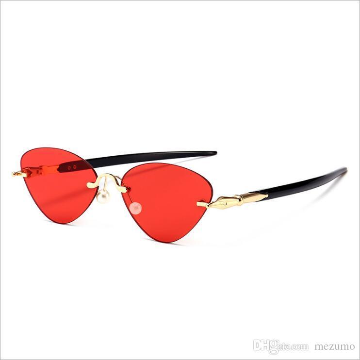Fashion Retro Cat Eye Sunglasses Small Clear Lens Women Rimless Eyeglasses Frame Brand Designer Female Sun glasses