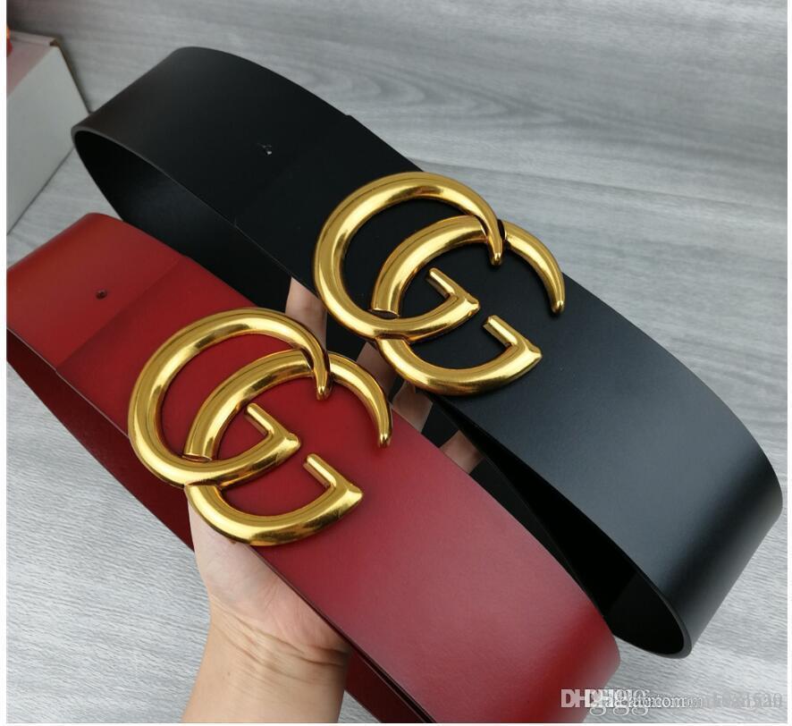 2020 Designer Damenmode neue 7cm breite Gürtel, schwarz, rot Körper, Gold Gürtelschnalle heißen Großverkauf, 10