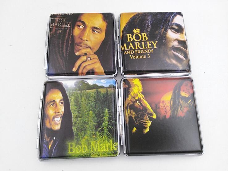 Bob Marley PU Leder Zigarettenetui für 20 Zigaretten antike Boxen Inhaber Rauchen Metall Tabak Fall Storage Tools Zubehör Verkauf