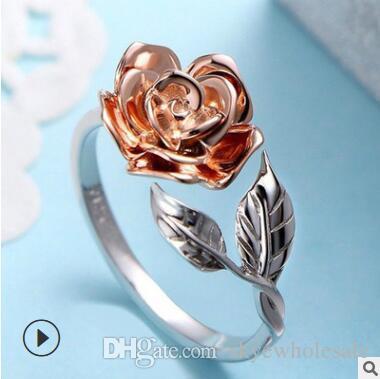 Joyería abierta del anillo abierto de la flor de la moda de las mujeres del doble-color del anillo de la explosión del nuevo producto
