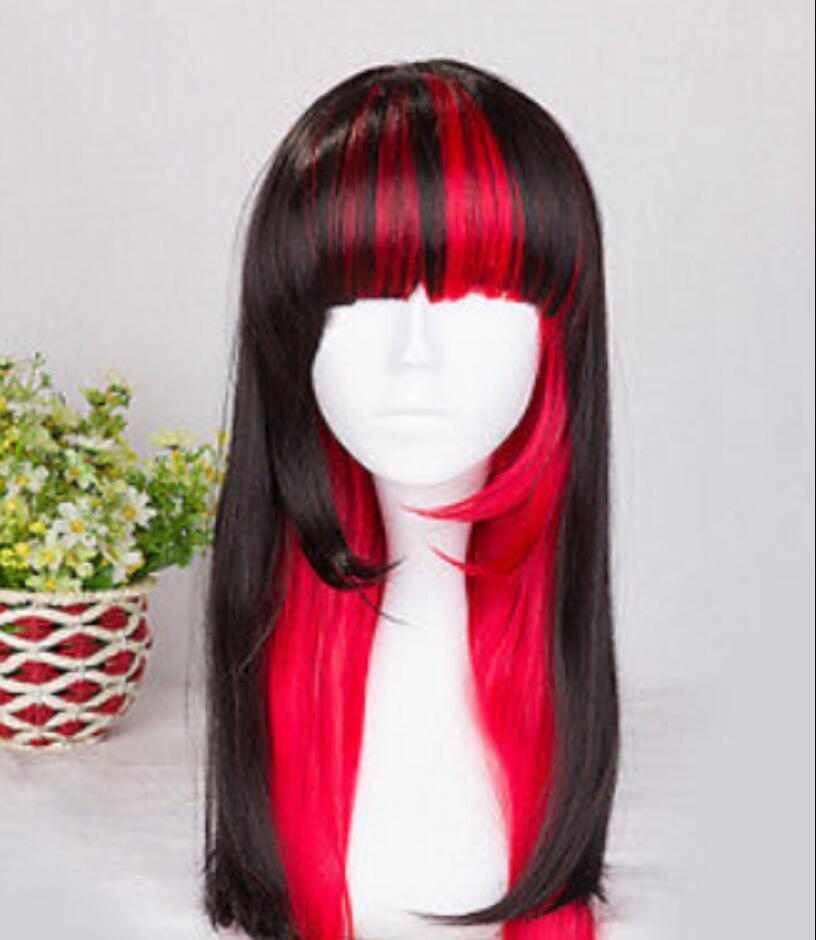 WIG spedizione gratuita Vendita calda! Parrucche Lolita miste nere e rosse lunghe 70 cm