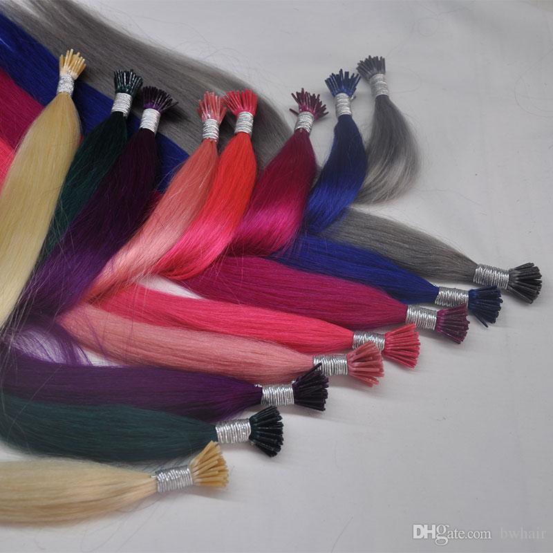 """8A Italien Kleber 1g / s 100g / lot Pre-Bonded Fusion I-Spitze-Haar-Verlängerung 16 """"-24"""" Non-Remy Menschen gerade Haar brasilianische Menschenhaarverlängerungen"""