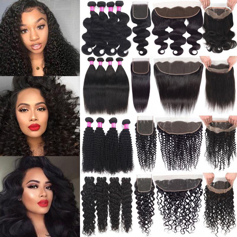 Trozos de cabello humano brasileño con cierre Kinky Curly Virgin Hair with13x4 Encaje Frontal Hair Weaves 360 Encaje Frontal Con Bundles