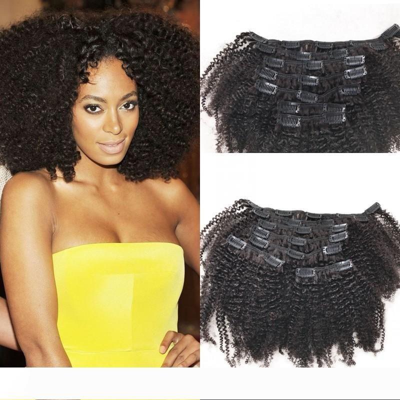 Clip de Remy Cabelo Humano em extensões para o americano Africano 4a mongol Clipe Afro Kinky cabelo encaracolado Ins 8-24 polegadas FDSHINE