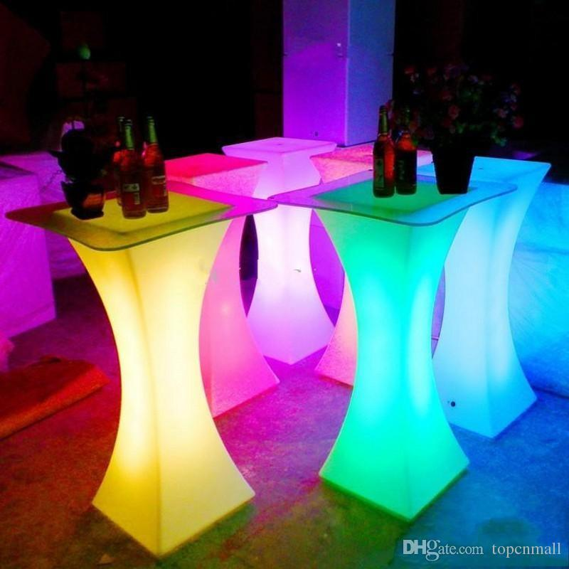 Nuevo LED recargable Luminoso Muebles de mesa de cócteles impermeable resplandeciente iluminada de mesa de café Bar KTV Disco Suministro de fiesta