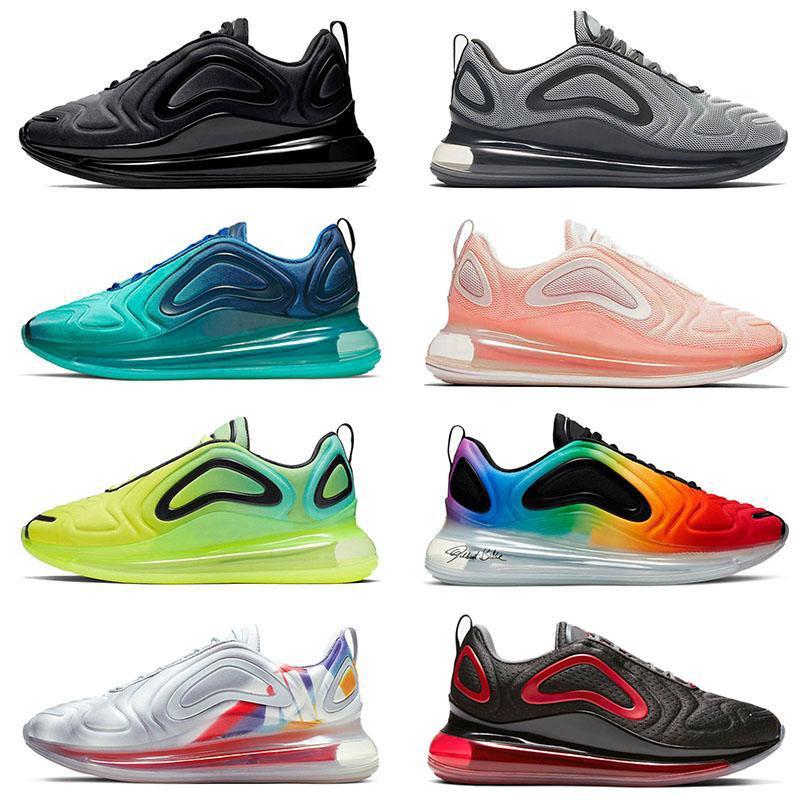 الأزياء وولف غراي  Nike Air Max 720 لدت المدربين الجدد وسائد الرجال الاحذية الثلاثي أسود أبيض البحر غابة كن مصمم صحيح رياضة المرأة أحذية رياضية