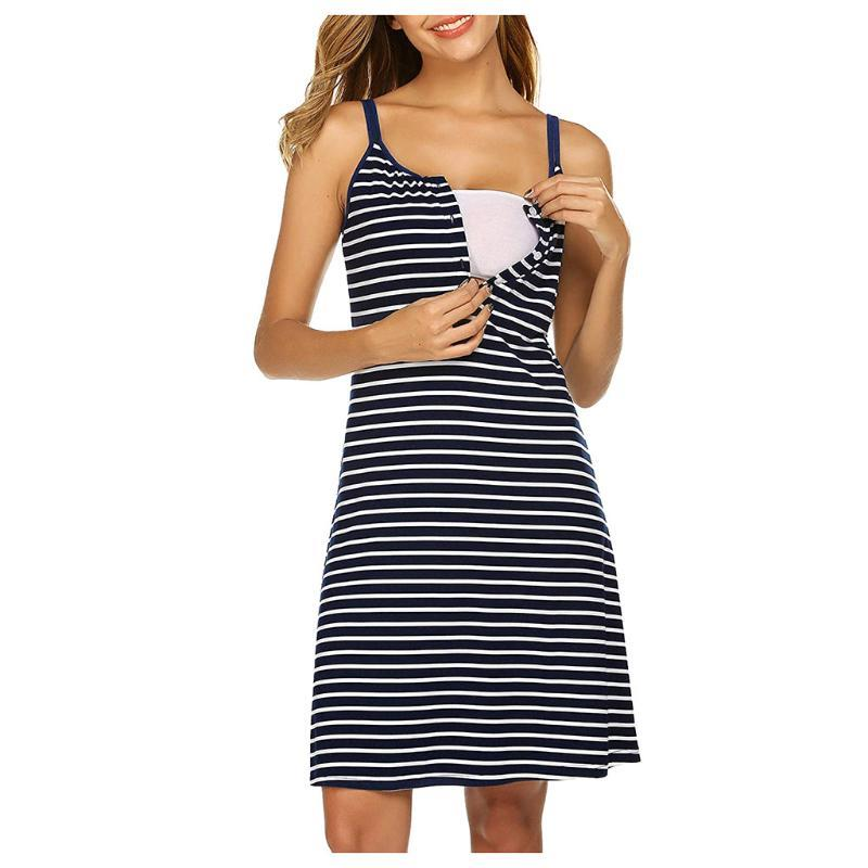 Summer Women Dress Maternity Pregnanty Clothes Dress Nursing Solid Stripe Suspenders Breastfeeding Summer Maternity 2020
