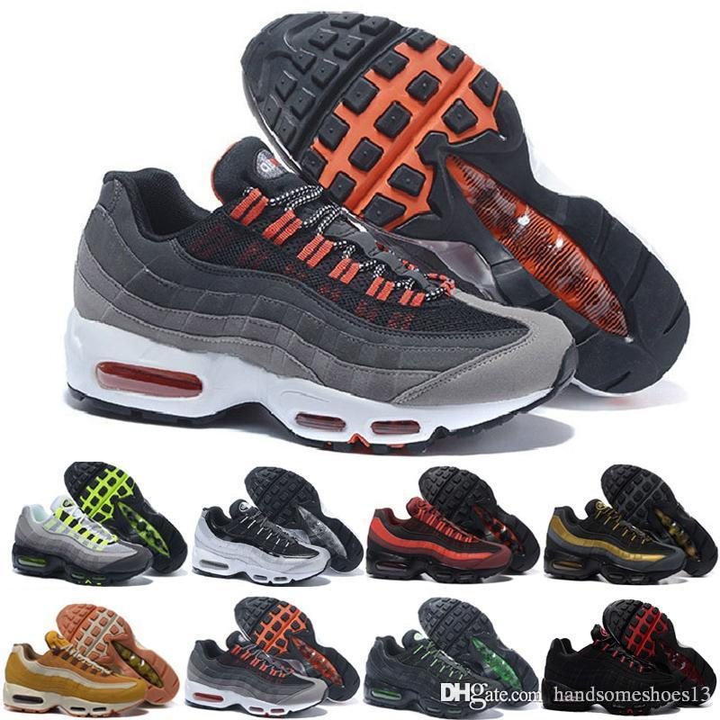 nike air max 95 airmax Drop Shipping Hight Qualidade New Mens Sports Running Shoes Homens Brancos Pretos melhor Atlético tênis de Caminhada Tênis de Treinamento Homem Cinza
