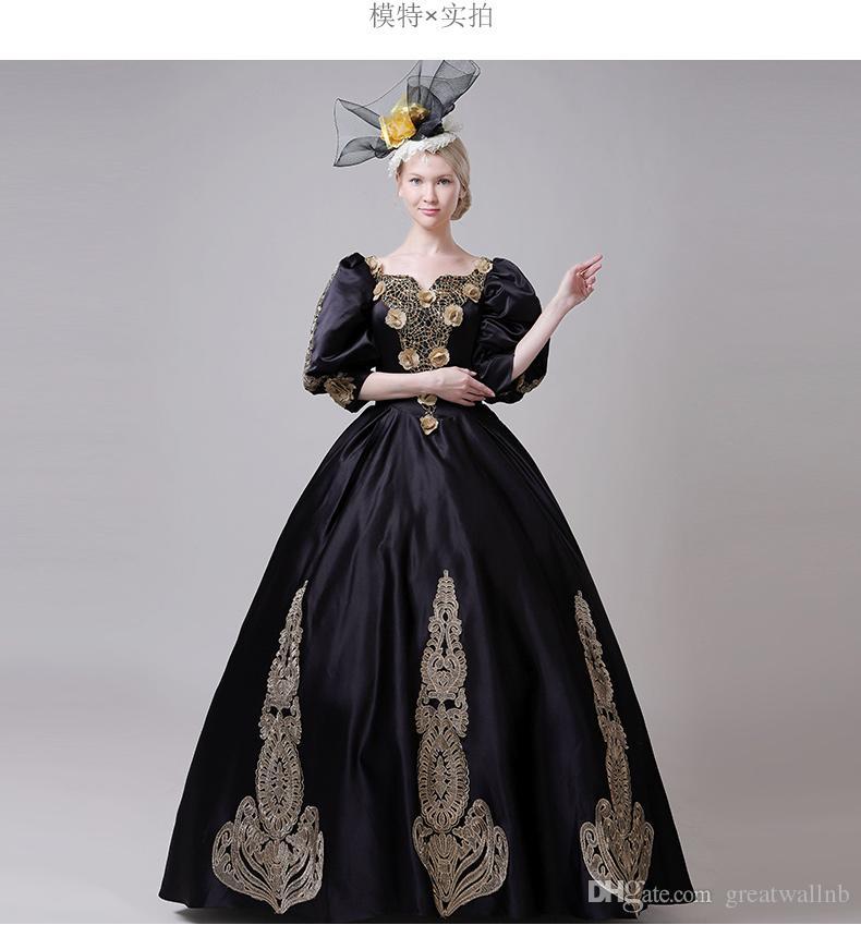 100% real negro bordado de oro abalorios burbuja manga royal court vestido de gala Vestido medieval Renacimiento victoriano Belle Ball