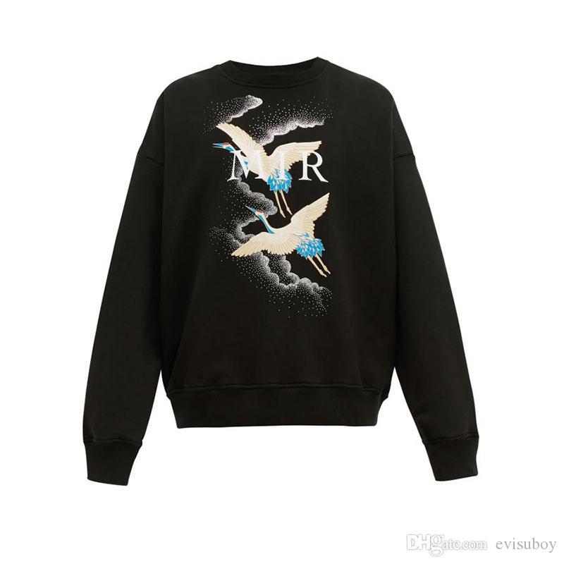 Мужской Толстовка Толстовка мода Crane Printed высокого качество Мужчины Женщина Толстовка Unisex Стилист Hoodie Jacket Размер S-XL