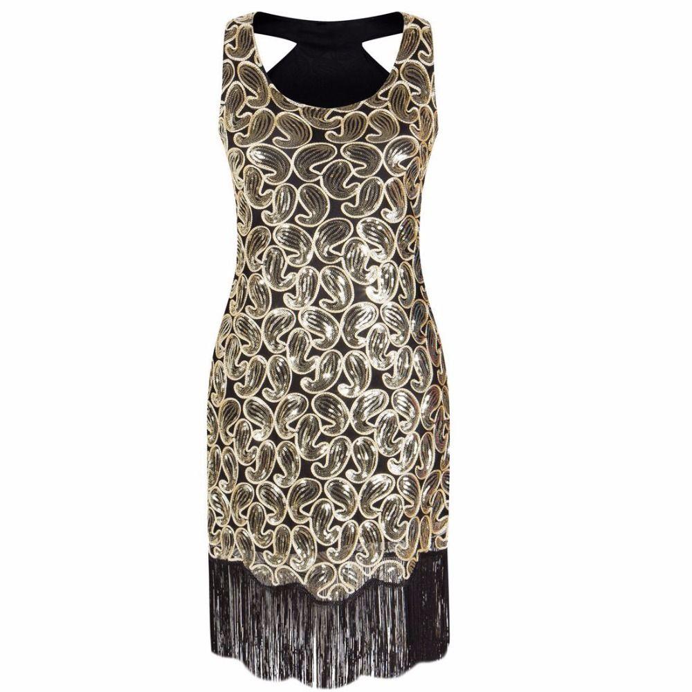 Женская 1920-х годов блесток Пейсли Pattern Racer назад хлопушка черное золото платье Sexy Fringe Great Gatsby платье партии Vestidos De Fiesta