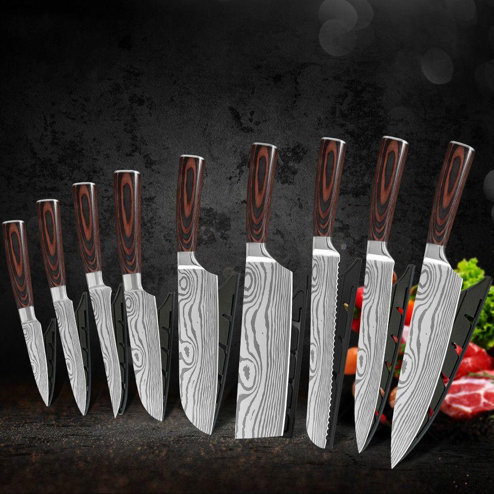 9 PCS 주방 나이프 세트 요리사 나이프 스테인레스 스틸 일본 다마스커스 패턴 Cleaver 유틸리티 Santoku 커버 선물을 가진 요리 도구