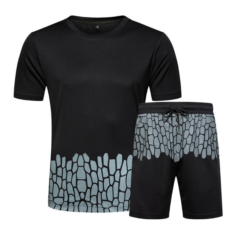 Primavera e Verão Novo 2020 Hot venda de Homens cor contrastante rachadura Moda de manga curta Shorts Casual shorts soltos e All-jogo