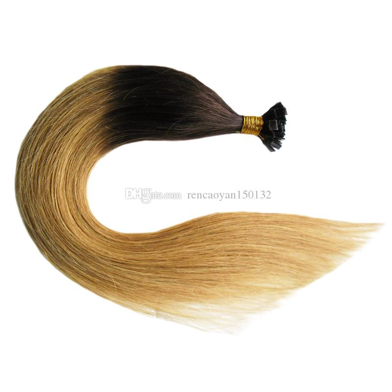 Hot Ombre Virgin Pre Bonded Nail U TIP Extensiones de cabello 100s Keratin fusion Nail TIP Extensiones de cabello humano Virgin Peruana Recta Remy