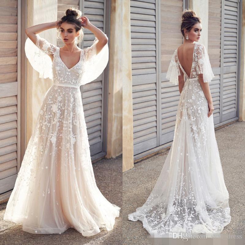 Sexy Beach Boho Vestidos de novia de encaje de una nueva línea de 2019 apliques baratos media manga país vacaciones vestidos de novia sin espalda