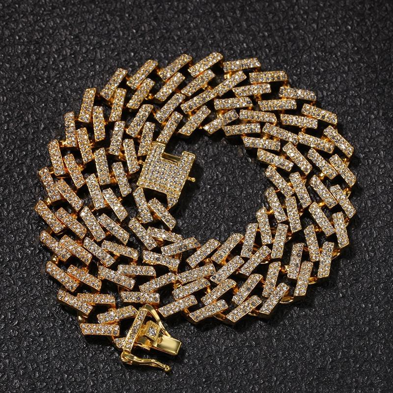 Catene Uomini fuori ghiacciato catene della collana dei monili di Hip Hop Oro Argento Diamante Miami cubana della collana di collegamento