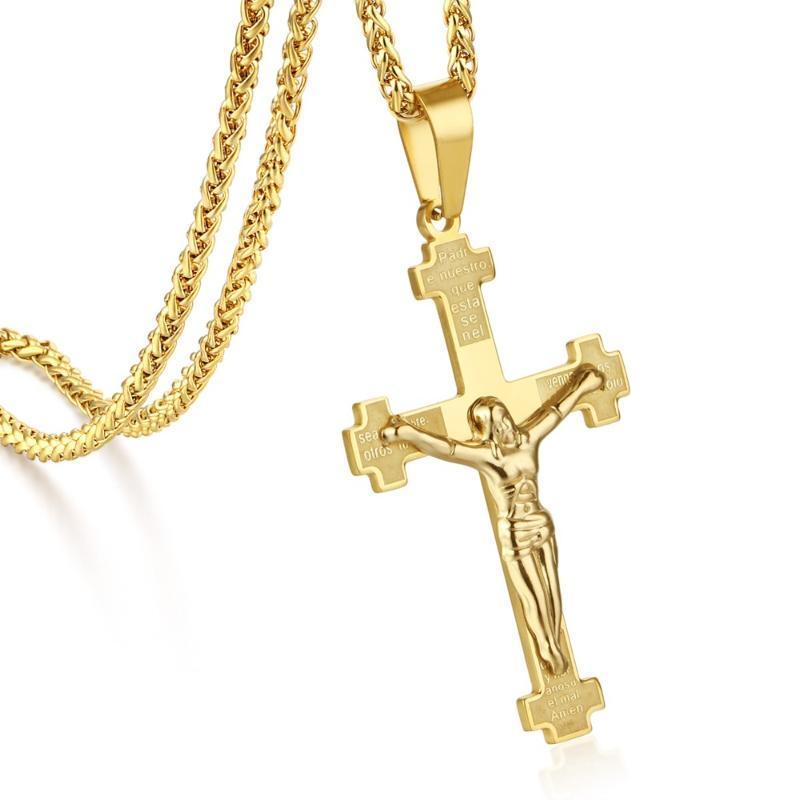 Cadena color oro español biblia de la cruz del acero inoxidable Católica Crucifijo colgante, collar de hombres religiosos hombres joyería MN200