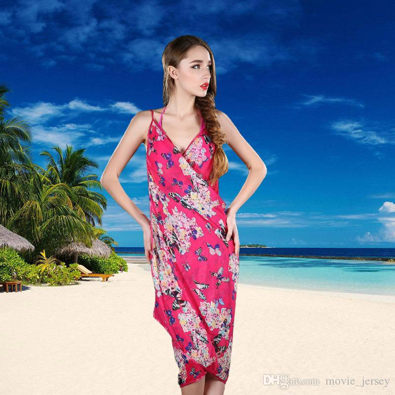 Yeni 2019 yaz New moda küçük kelebek yüzme bikeni plaj şal renkleri Kapak-Ups