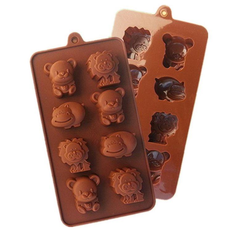 L'alta qualità Little Bear Ippopotamo Leone a forma di muffa del cioccolato commestibile silicone del cioccolato della muffa di ghiaccio del silicone vassoi Mold