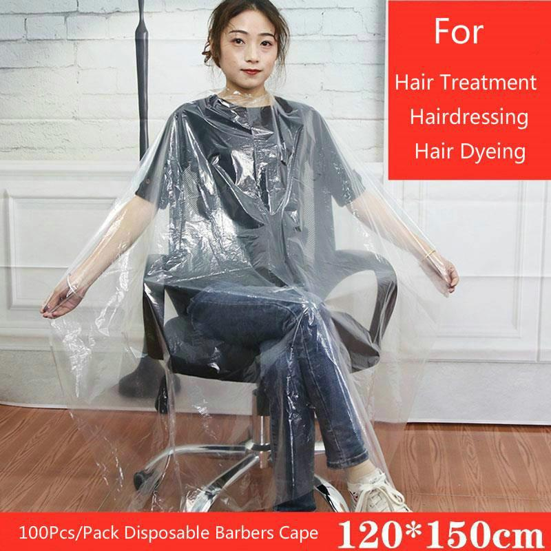 120x150 desechable Hair Salon Capes prueba de agua de lavado transparente Pad Cabo Champú Hair Salon corte de pelo limpio Covers 100 piezas / paquete