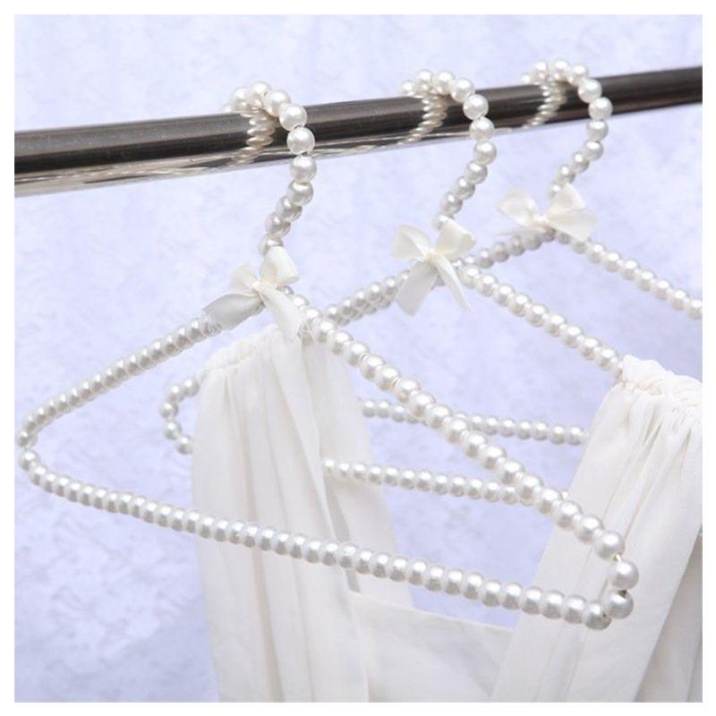فاخر الأبيض 40CM الكبار البلاستيك شماعات لؤلؤة هناجر للملابس الأوتاد الأميرة مشابك الغسيل فستان الزفاف شماعات