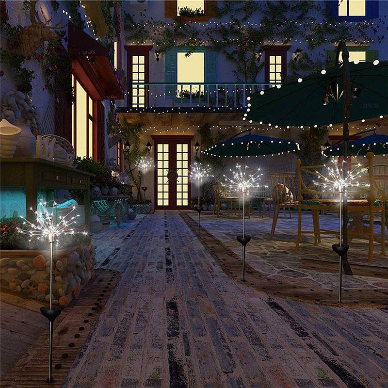 90/150 LED الخفيفة للطاقة الشمسية ثمانية وظيفة وسائط الهندباء الحديقة / أضواء الألعاب النارية في الهواء الطلق مصباح للماء حديقة الخفيفة للطاقة الشمسية