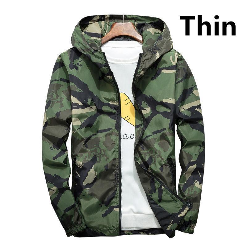 Venda quente fina Camouflage Jacket Primavera Outono New Men Casual protetor solar fina blusão com capuz Jacket Tamanho Grande