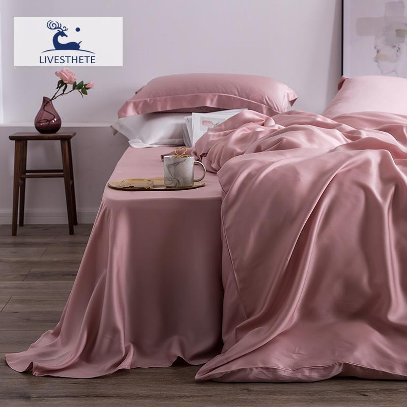 Liv-Esthete 100% Natural Silk 25 Momme Davet Cover Flat Sheet Bed Linen Set Home Decor Favour Bedding Set Double Queen King T200415