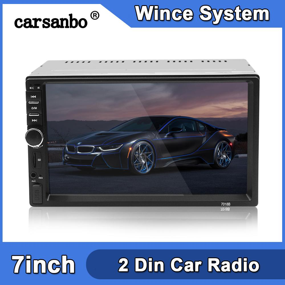 2 DIN 7 Inç Araba Radyo Dokunmatik Ekran Stereo Multimedya Player MP5 Ayna Bağlantı Android / iOS Bluetooth FM SD USB AUX Giriş Araba DVD