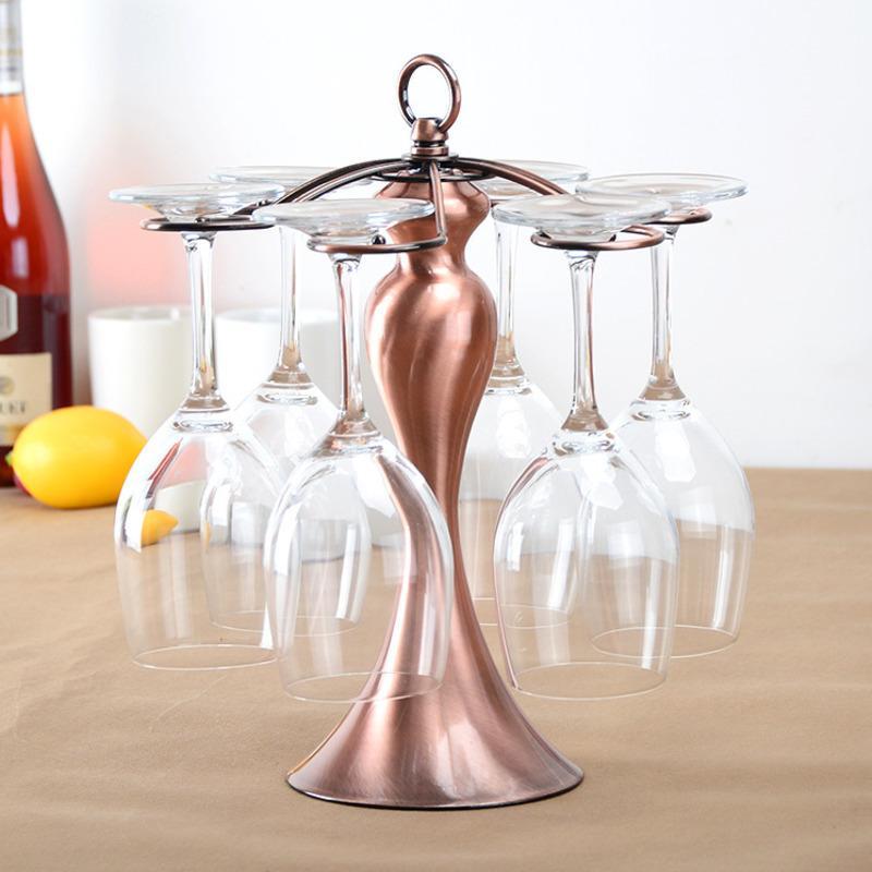 Bronzo di colore del metallo attaccatura del supporto di lusso Wine Glass Calici bagagli cremagliera di vetro di esposizione del supporto Stendino stand con 6 ganci