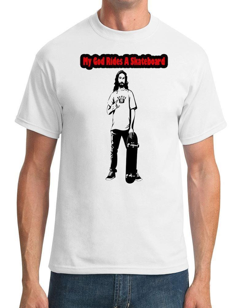 My God Rides A Skateboard Skater Jesus Mens T-Shirt