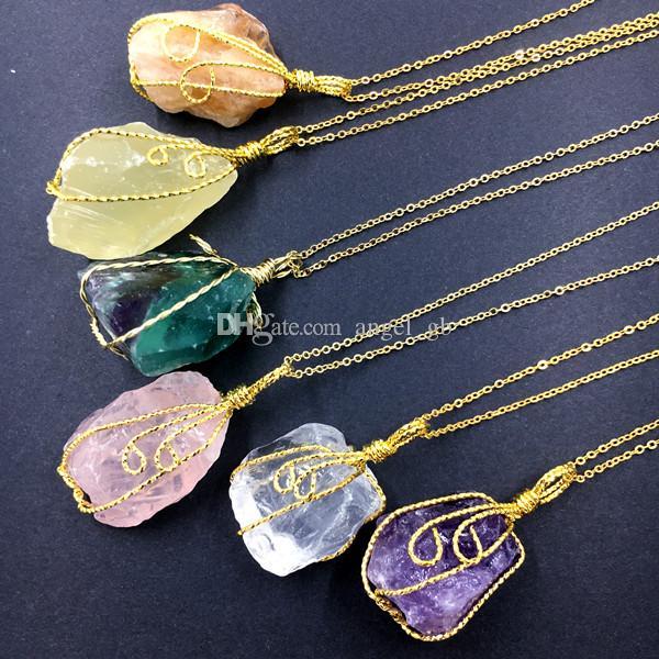 여러 가지 빛깔 수제 불규칙한 자수정 황수정 크리스탈 석영 펜던트 목걸이 골드 도금 와이어는 자연 석재 형석 목걸이 포장