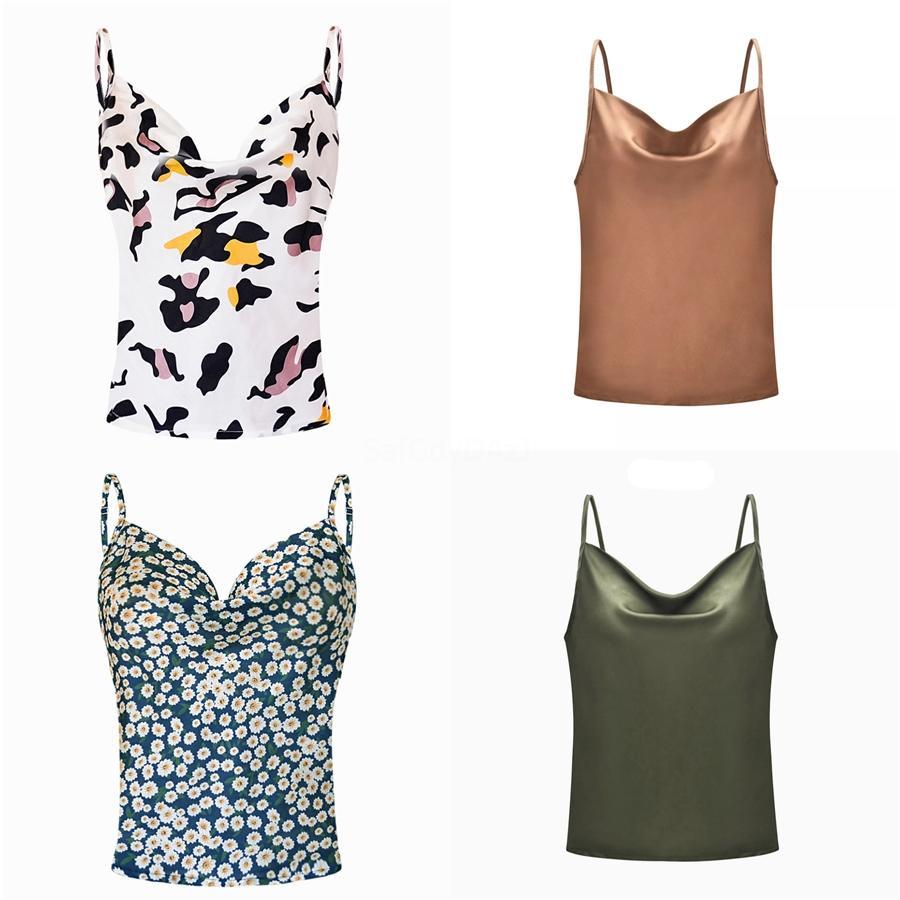 Chaleco superior de la manera señora de las mujeres del verano del cordón del cuello en V manga corta de la blusa casual tapas del tanque de la camisa Ropa de verano # 448