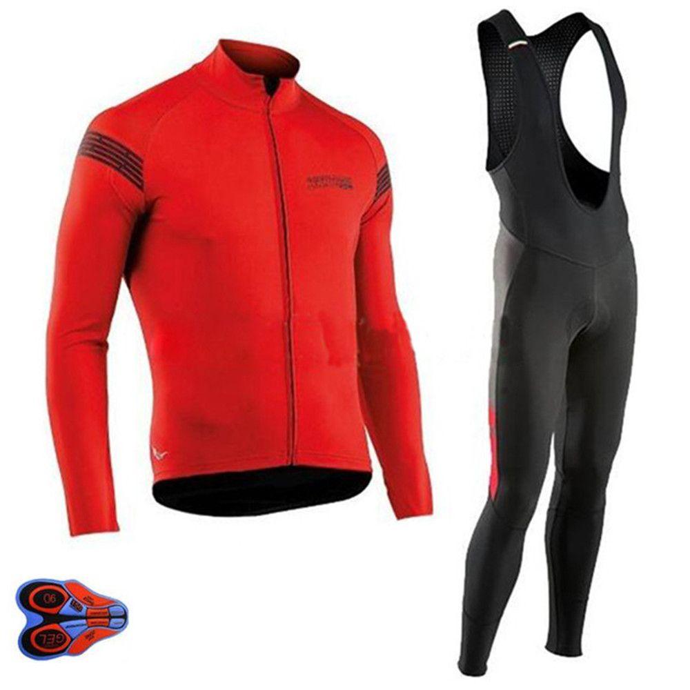NW 2018 Autumn Cycling Jersey long Sleeve Bicycle Cycling Clothing Bike Shirt Maillot Ropa Ciclismo Bib Pants 9D gel pad