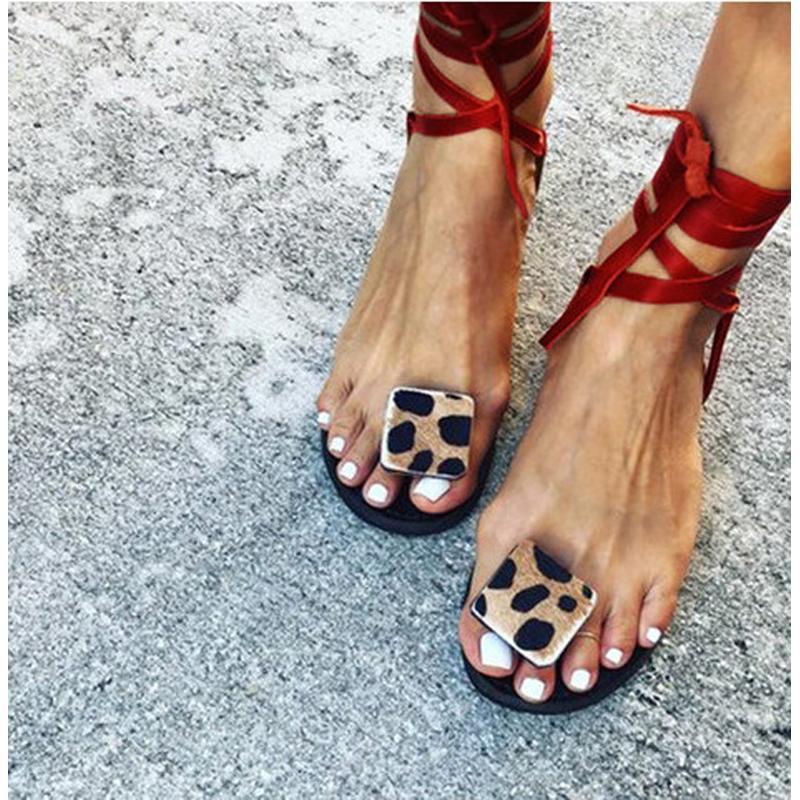 Качество лета женщин плоские сандалии Sexy Leopard печати Handmade открытым носком сандалии Шлепанцы Плюс Размер 35-43