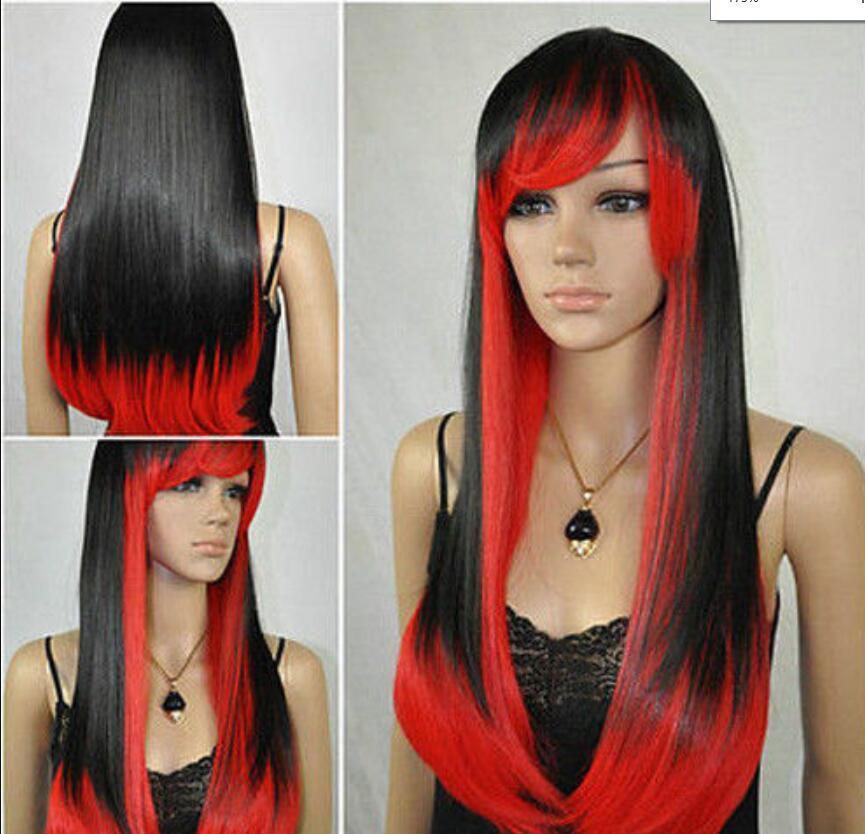 Парик новый парик жаропрочных косплей длинные прямые красный черный микс парик полный парики