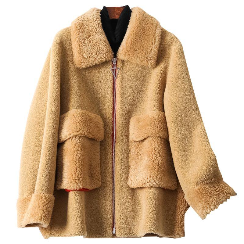 Brasão real do casaco de pele Outono Inverno Feminino Wool Jacket Roupas Femininas 2020 Sheep coreano Vintage Shearling Suede Lining Tops ZT4132