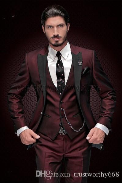 Bordo smokin damat düğün erkekler suit erkek düğün takım elbise smokin kostümleri de sigara hommes erkekler dökün (Ceket + Pantolon + Kravat + Yelek) 068
