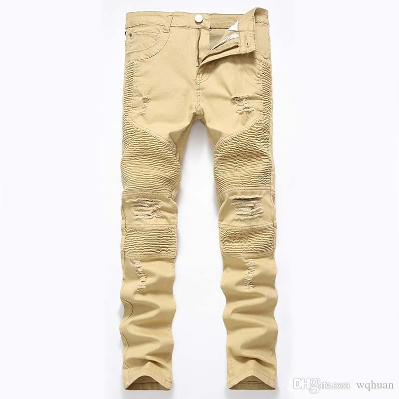 Nouveau Jeans motard denim Knees trous Drapée lambrissé pantalons fashional Lavé de haute qualité Zipper Livraison gratuite