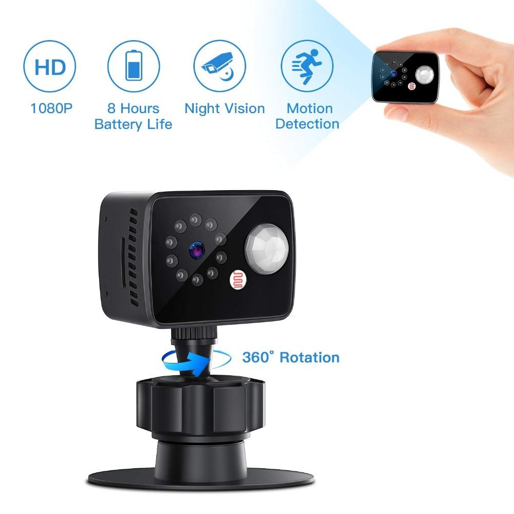 8 horas mini câmeras 1080p pequena segurança doméstica câmara de vigilância gravador de vídeo com detecção de movimento versão nocturna escondida cartão