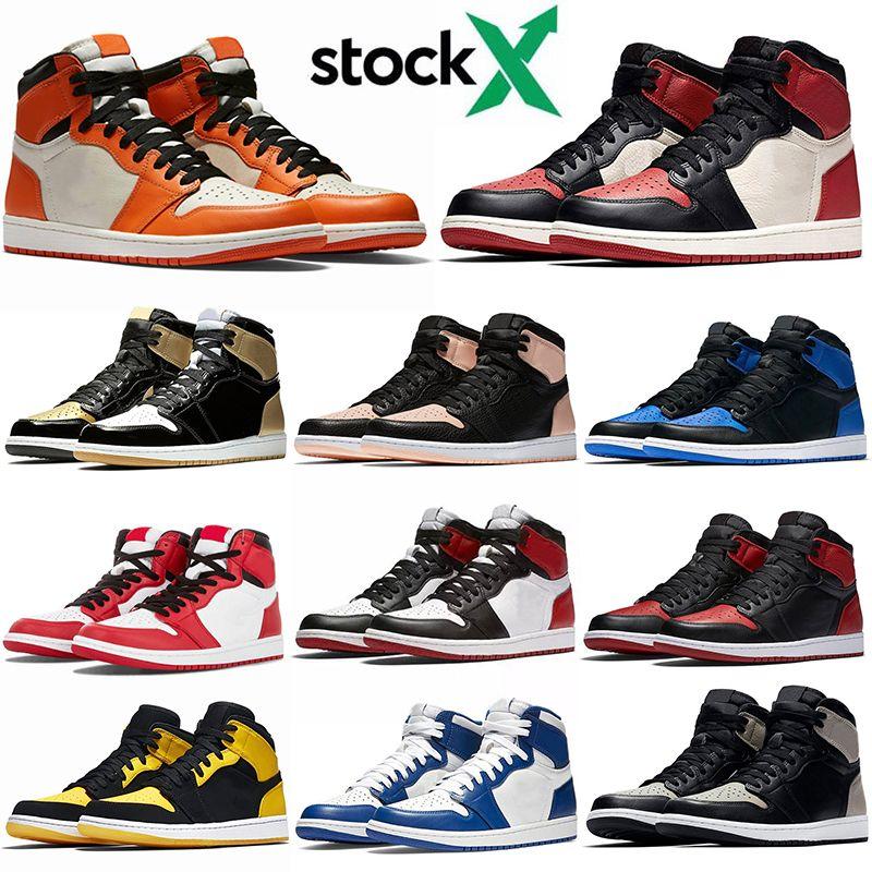 Nike Air Jordan Retro 1 Siyah Shattered 2020 Yeni Geliş Erkekler Kadınlar Basketbol Ayakkabı 1s Crimson Ton Chicago Jumpman Marka Fırtına Mavi UNC Eğitmenler Sneakers Bred