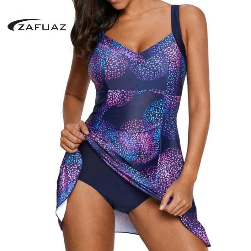 2019 새로운 빈티지 인쇄 플러스 크기 Tankini 수영복 복장 수영복 여성 수영복 치마 큰 크기 Monokini Bodysuit 여성 5xl Y19062901