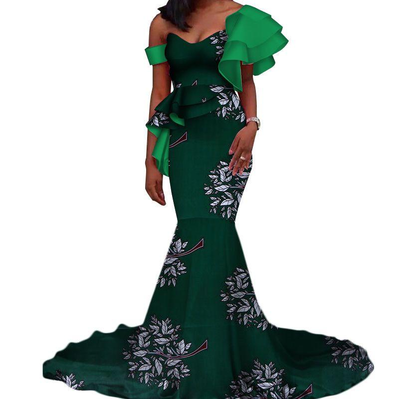 Vestidos Vintage Bazin Longo Sereia Vestido Drapeado Patchwork Vestidos de Impressão Africano para As Mulheres Africano Ankara Roupas WY3346